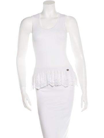 Chanel Lace-Trimmed Sleeveless Top None