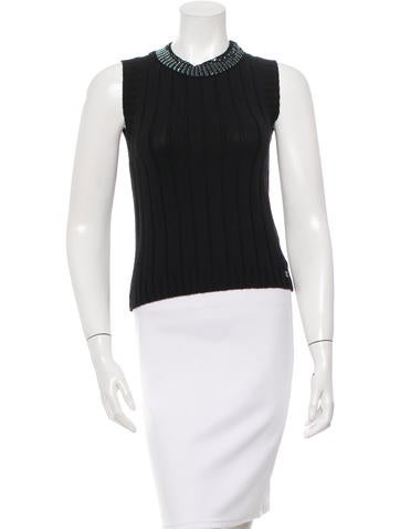 Chanel Embellished Knit Wool Top None