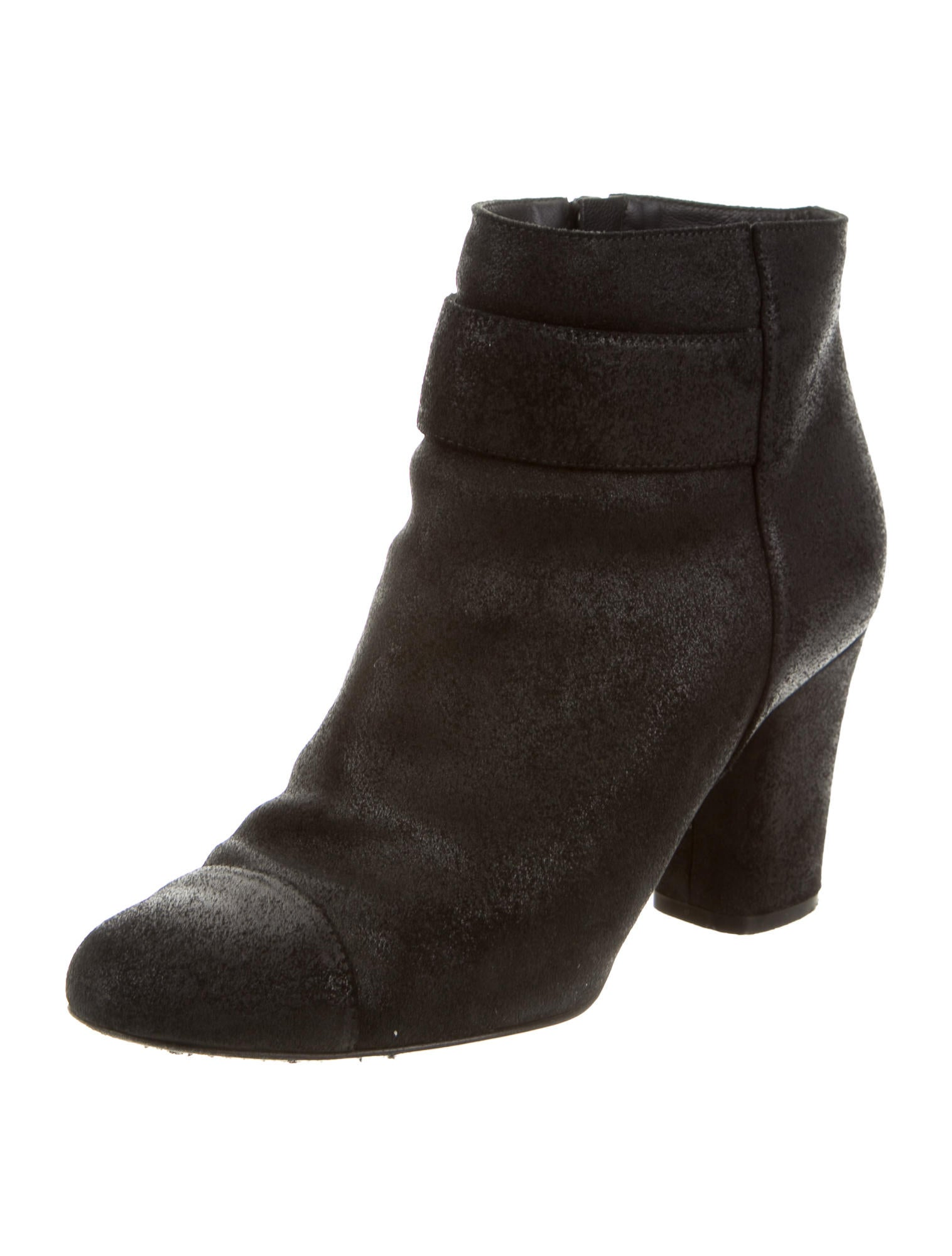 chanel suede cc ankle boots shoes cha128852 the realreal