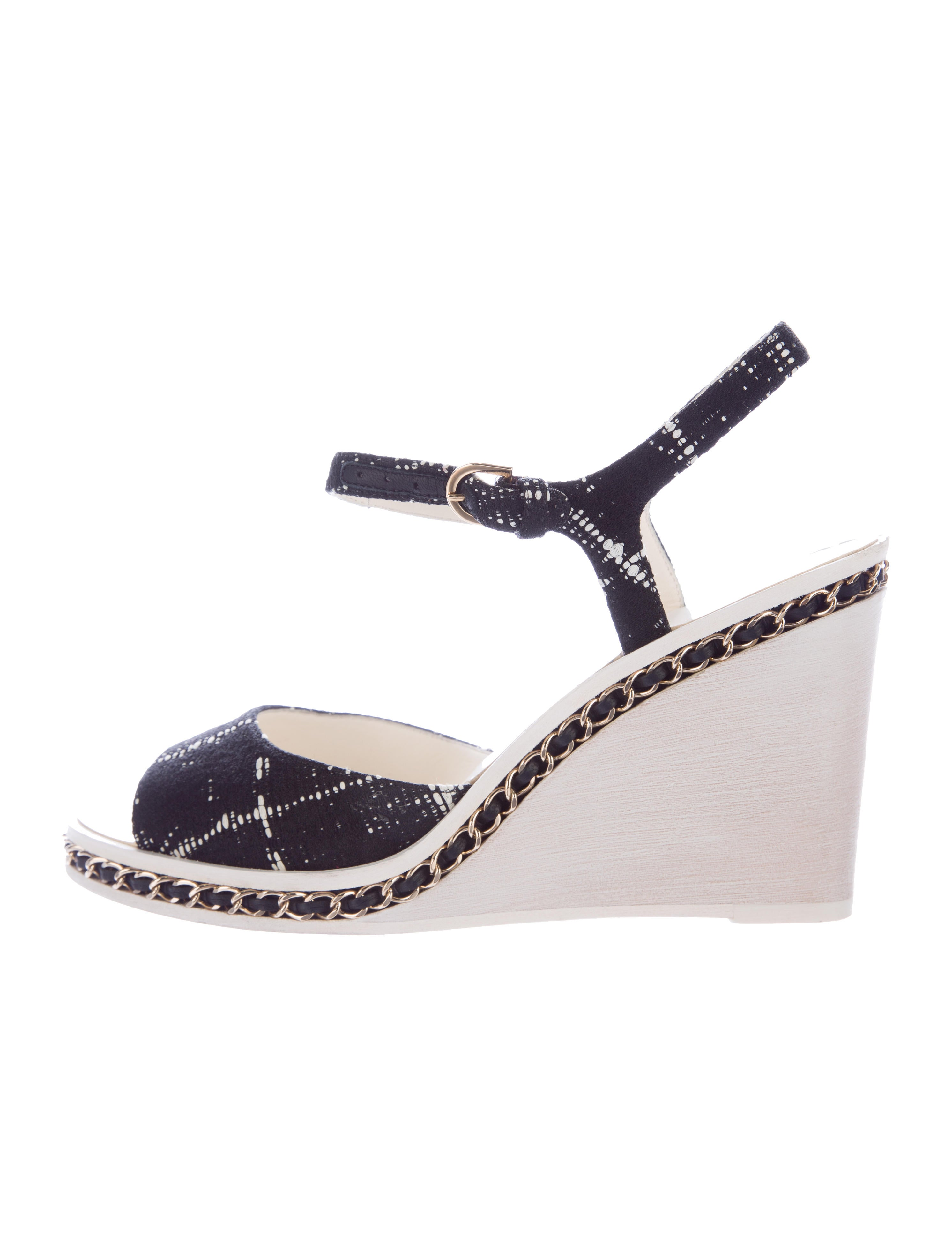 chanel tweed wedge sandals shoes cha128910