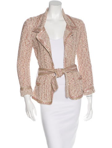 Chanel Sequin-Trimmed Metallic Cardigan None