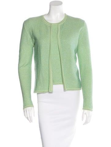 Chanel Metallic Cashmere Cardigan Set None