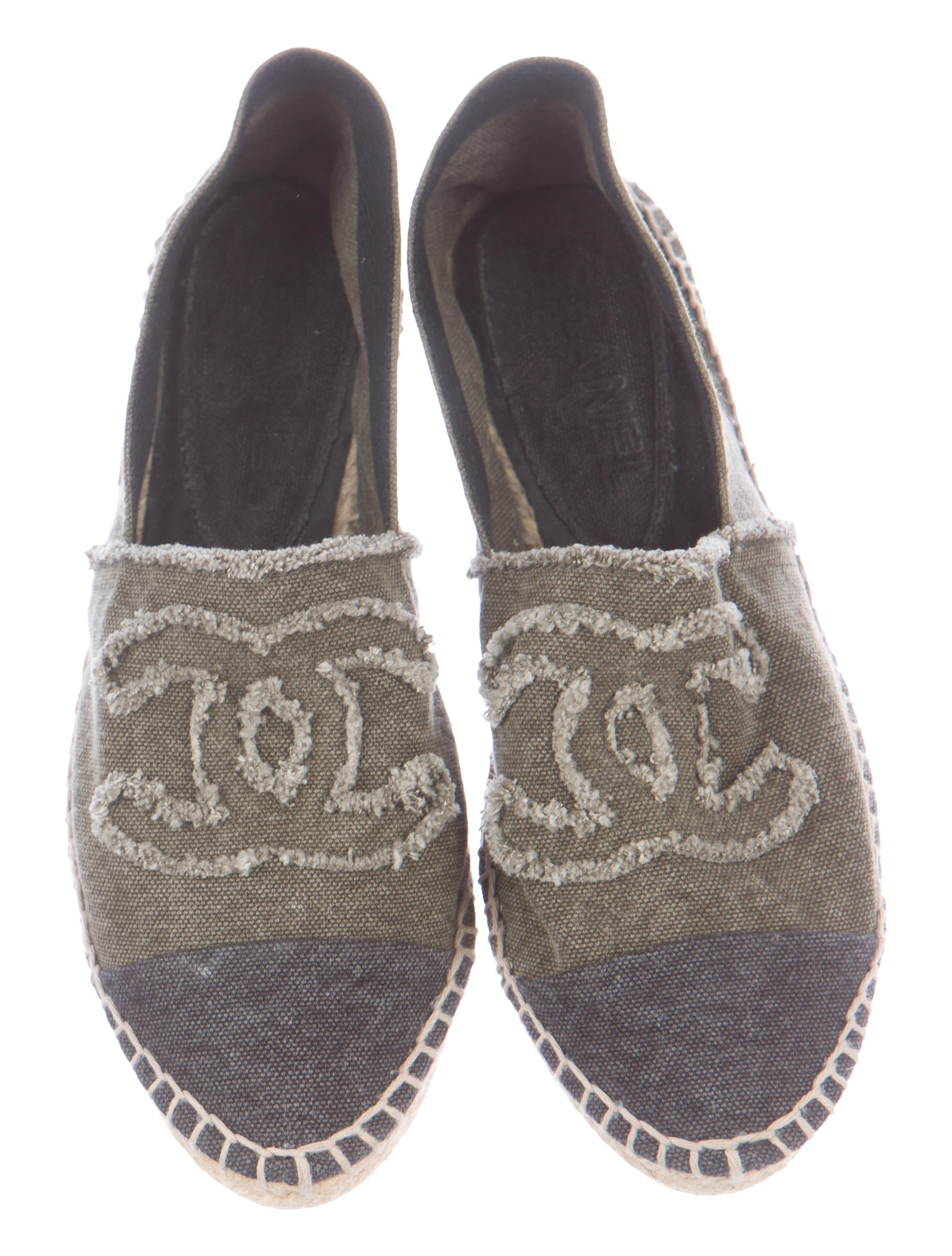 chanel canvas espadrille flats shoes cha131217 the