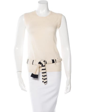 Chanel Belted Cashmere Top None