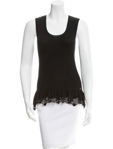 Chanel Sleeveless Rib Knit Top None