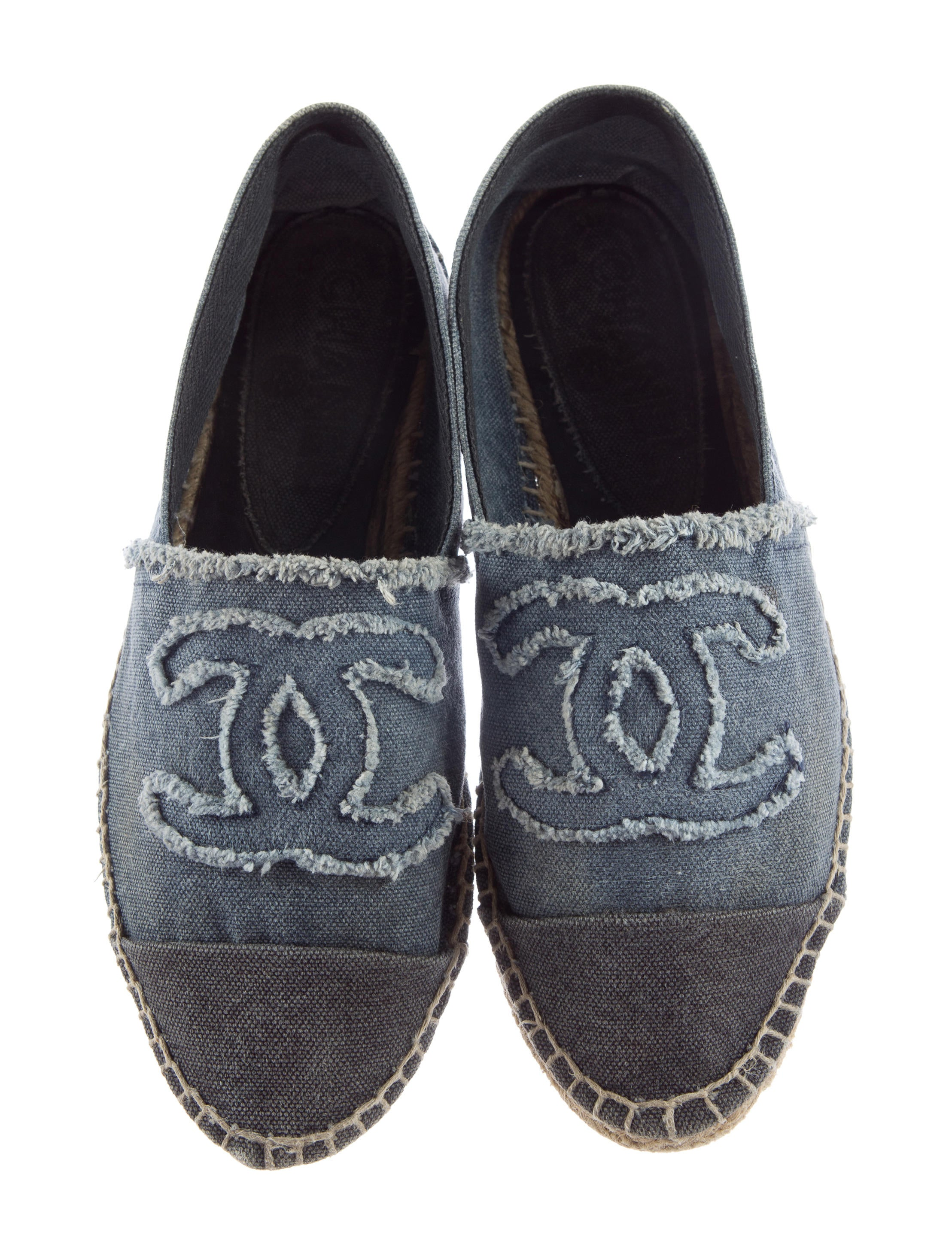 chanel canvas espadrille flats shoes cha131796 the