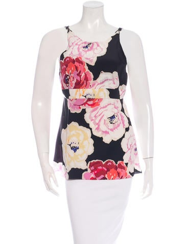 Chanel Camellia Print Silk Top None