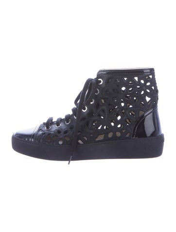 Embroidered Cutout High-Top Sneakers