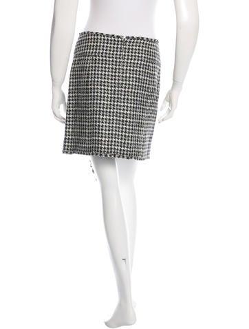 Fringe-Trimmed Houndstooth Skirt