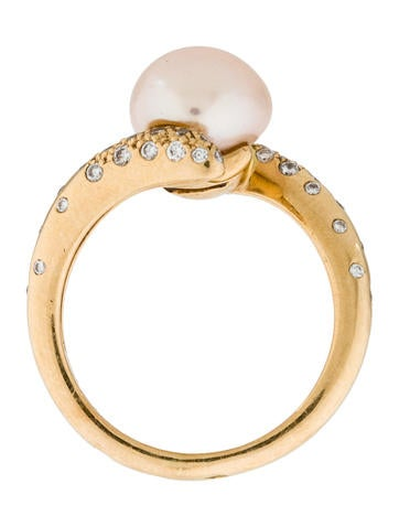 18K Pearl & Diamond Bypass Ring