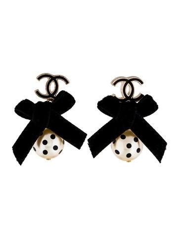 CC & Polka Dot Pearl Drop Earrings