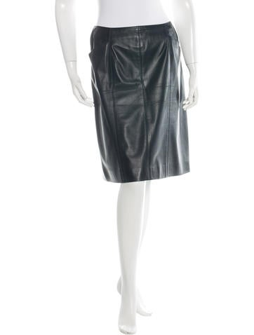 Chanel Leather Pencil Skirt