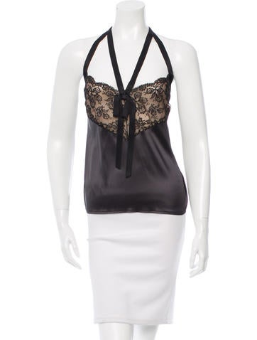 Chanel Silk Lace-Accented Top w/ Tags None