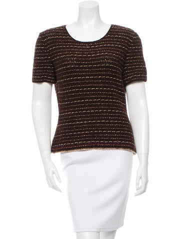 Chanel Crochet Knit Short Sleeve Top None