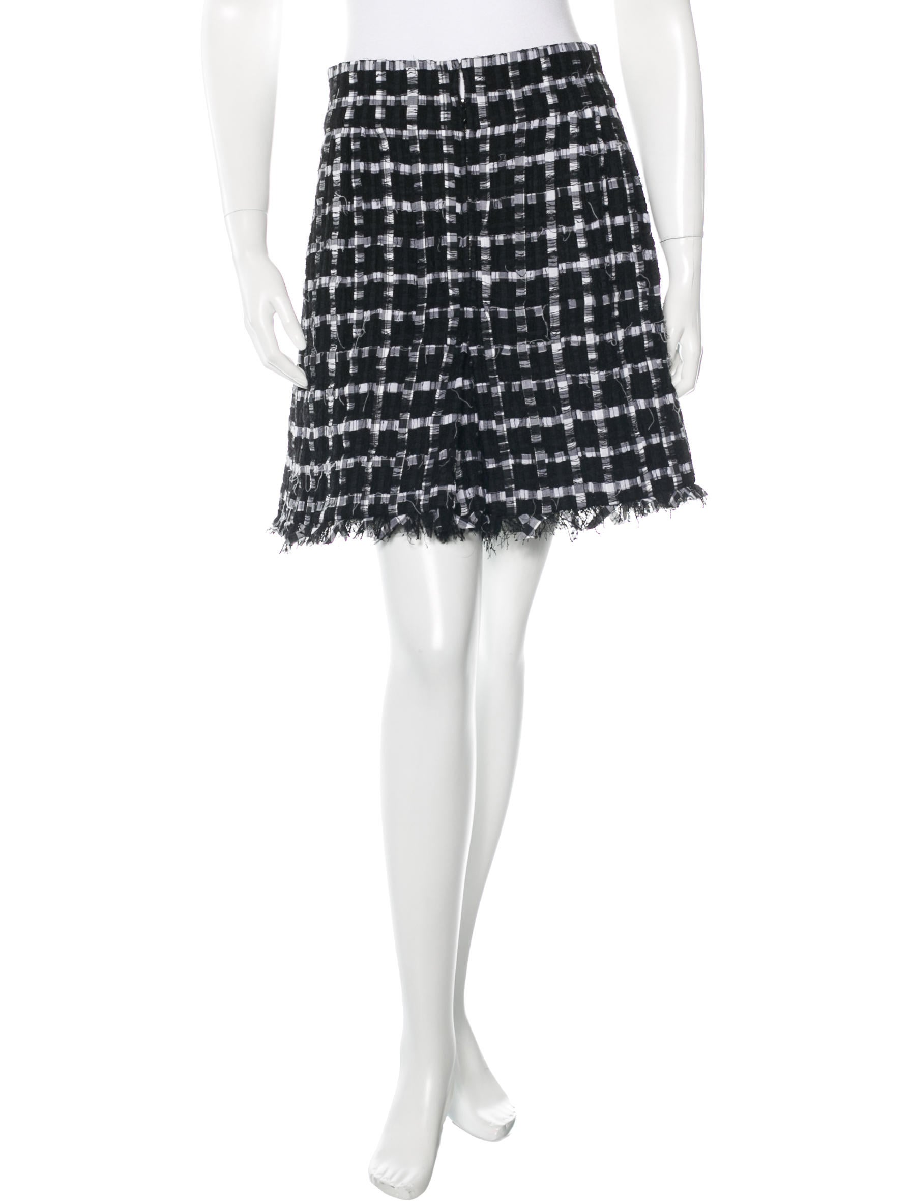 chanel pleated tweed skirt clothing cha134158 the