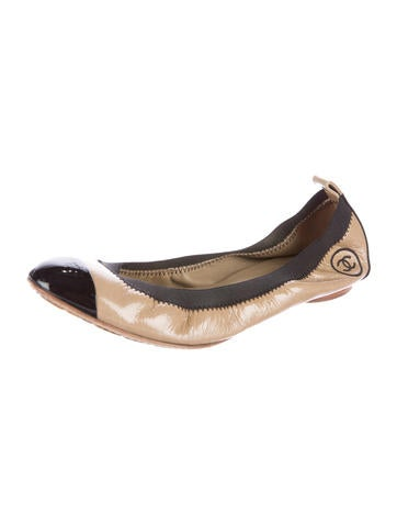 chanel patent leather stretch spirit flats shoes