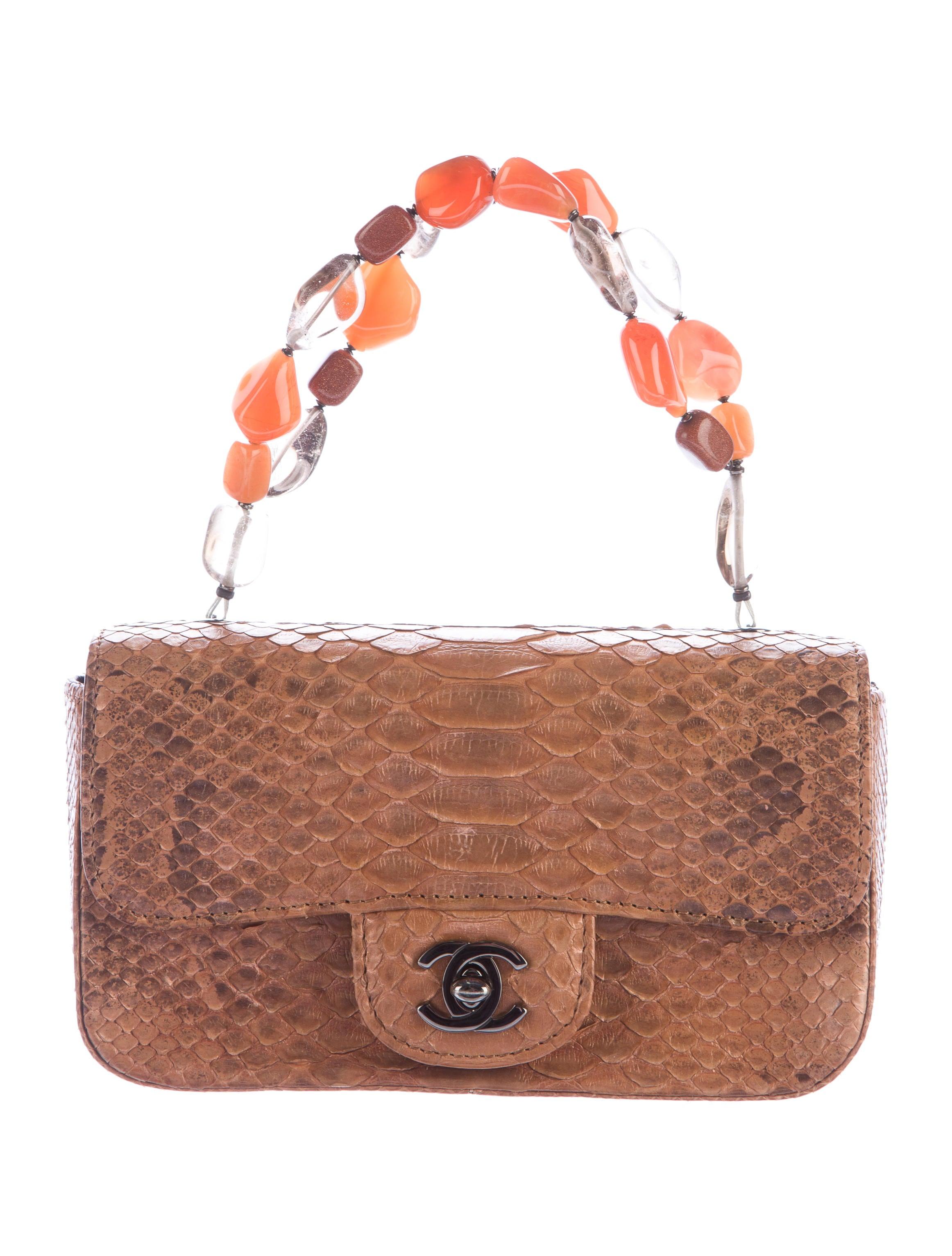a2ec88f9c39d Chanel Natural Python Mini Flap Bag - Handbags - CHA134463 | The ...