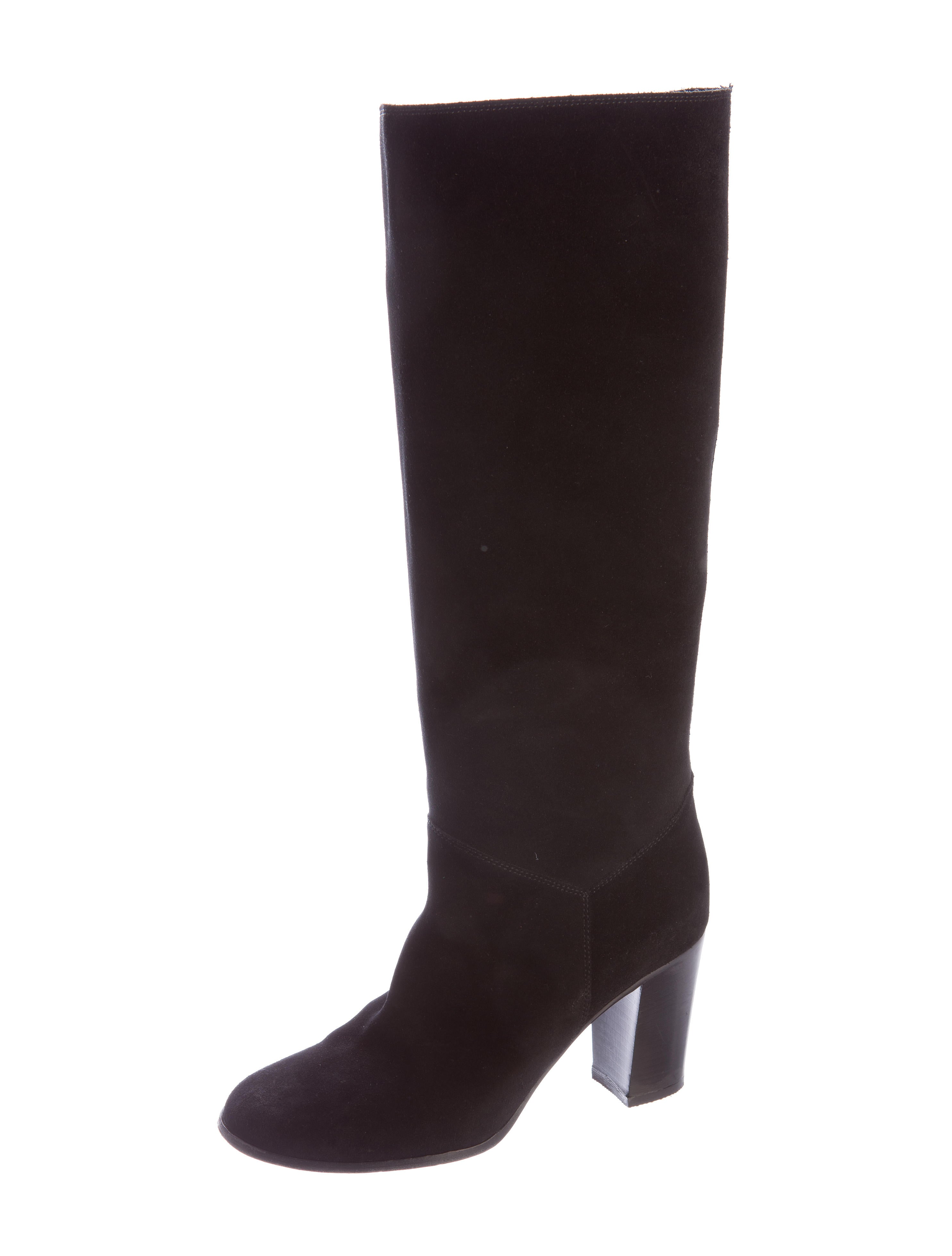 chanel suede knee high boots shoes cha134603 the