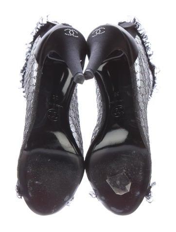 Mesh Peep-Toe Ankle Boots