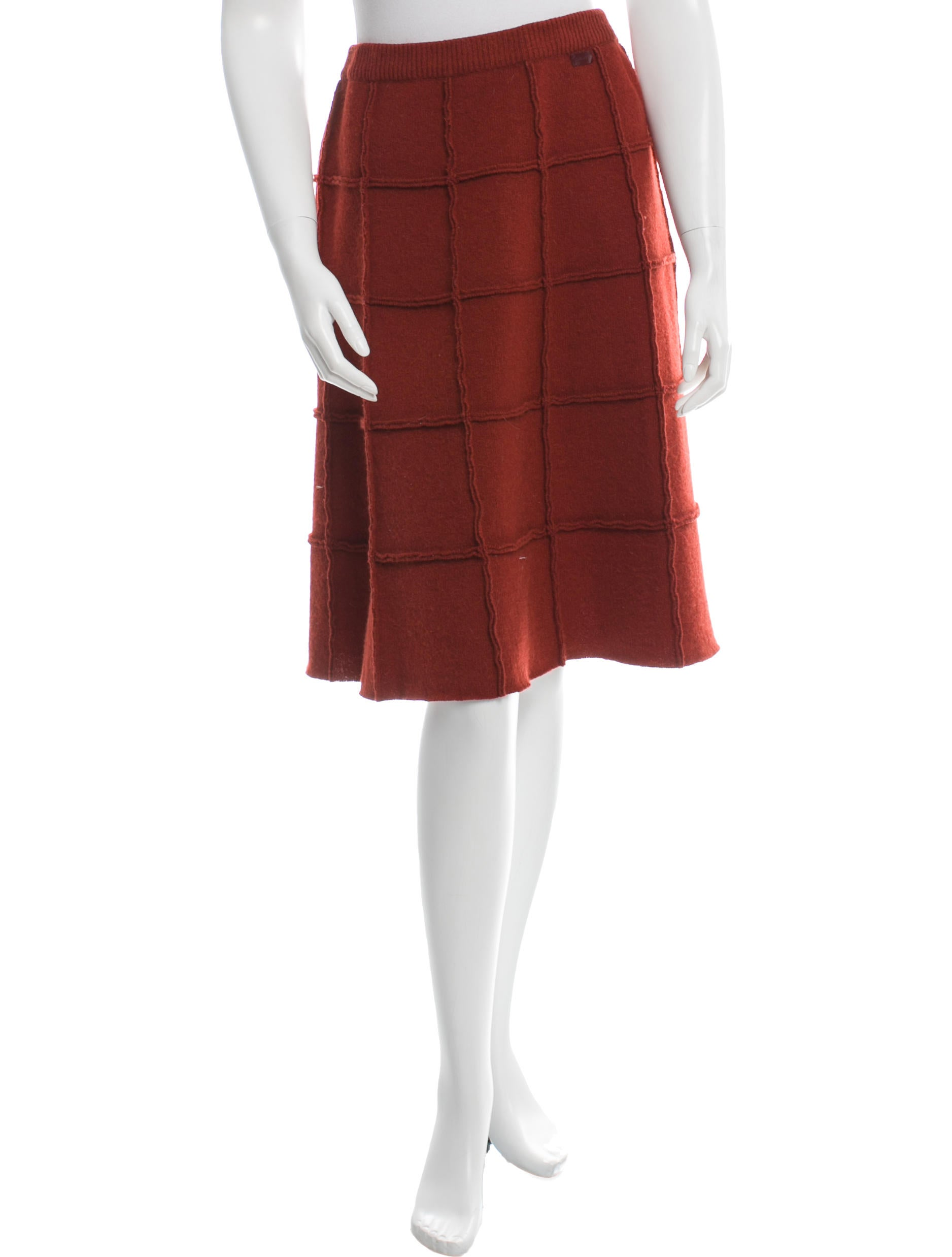 chanel camel wool blend a line skirt clothing