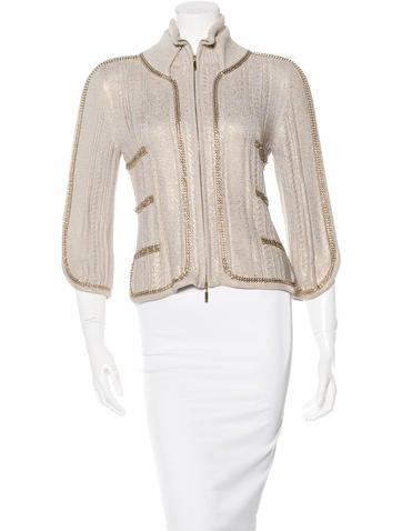 Chanel Embellished Rib Knit Cardigan None