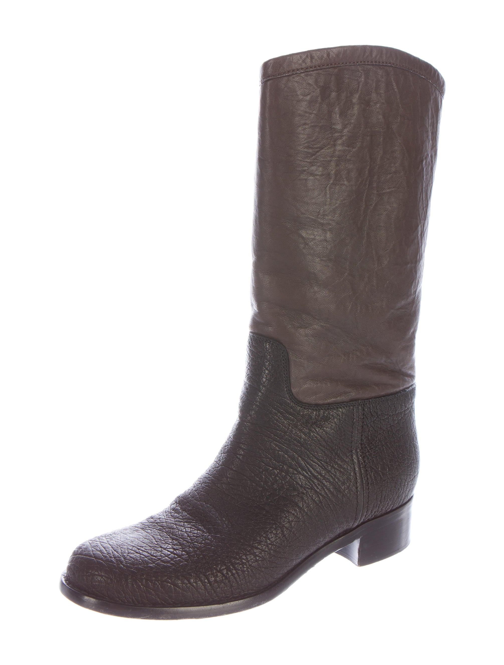 chanel colorblock mid calf boots shoes cha135401 the