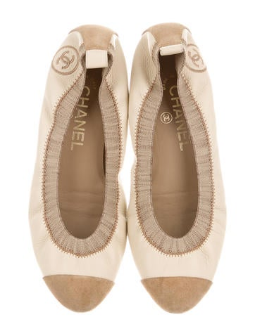chanel leather stretch spirit flats shoes cha135473