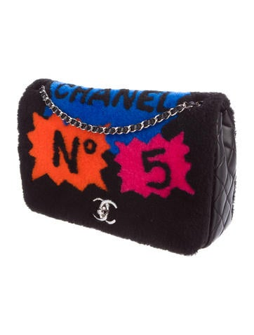 No. 5 Comic Shearling Flap Bag