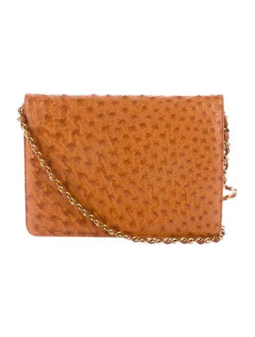 9b24100b4ede Chanel Ostrich Flap Shoulder Bag - Handbags - CHA136060   The RealReal