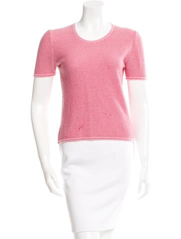 Chanel Cashmere Mesh Overlay Top None