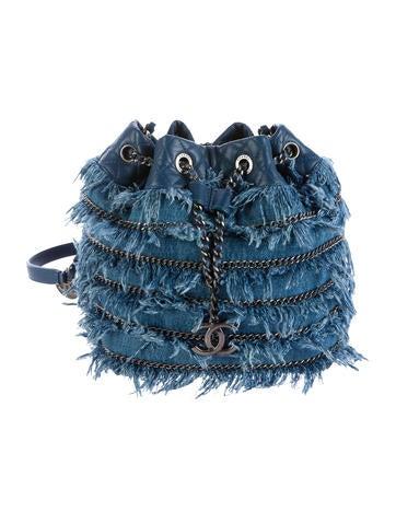 2015 Denim Fringe Bucket Bag