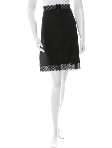 Chanel Wool Lace-Trimmed Skirt None