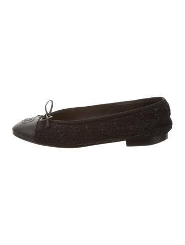 Chanel Rib Knit Cap-Toe Flats None