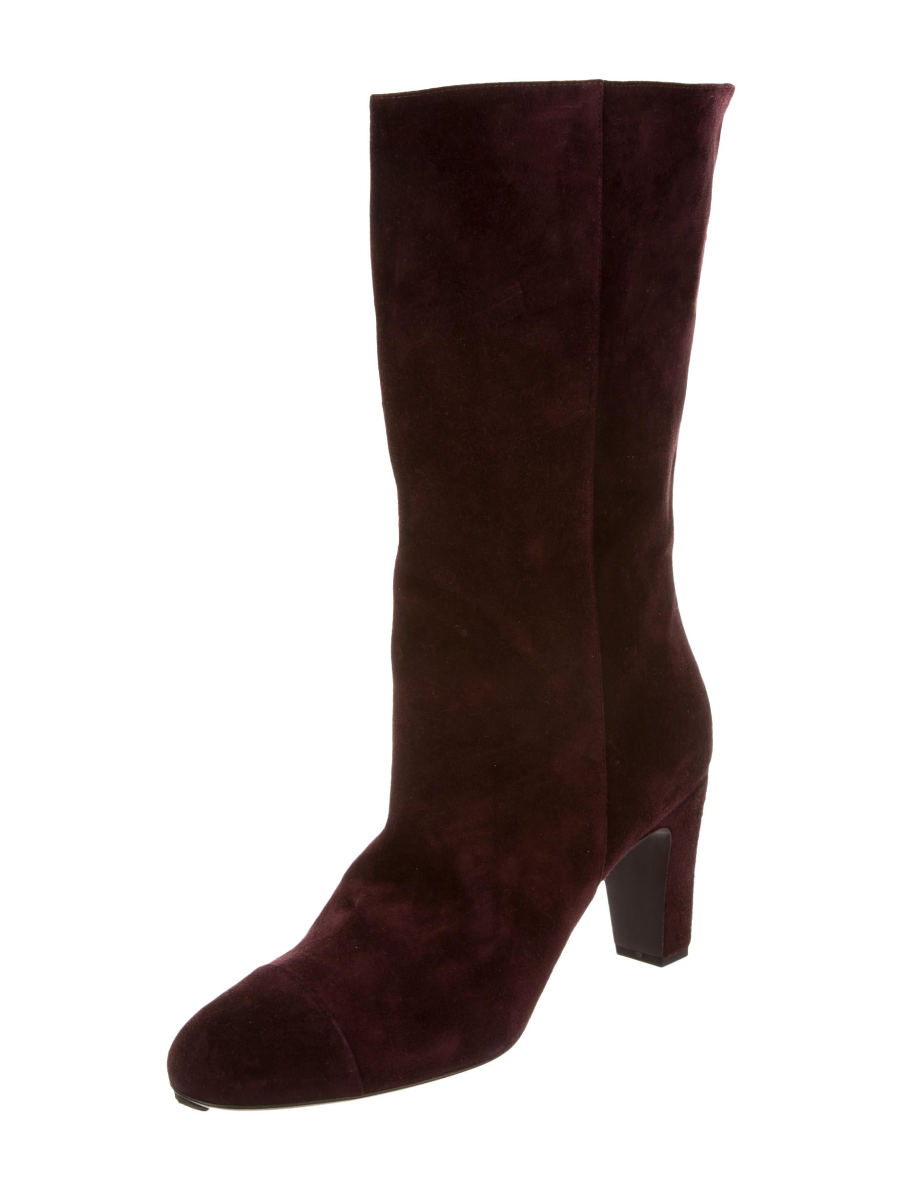 chanel suede knee high boots shoes cha137182 the