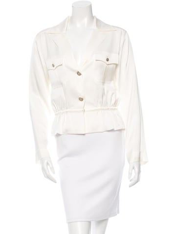 Chanel Silk V-Neck Blouse w/ Tags None