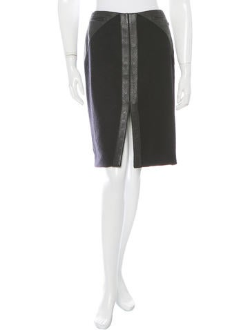 Chanel Leather-Trimmed Wool Skirt None