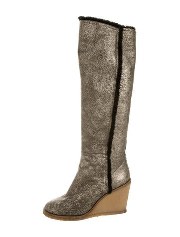 chanel the knee wedge boots shoes cha137508 the