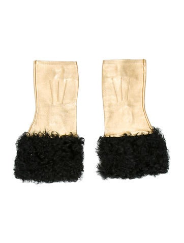 Chanel Leather Shearling Gloves None
