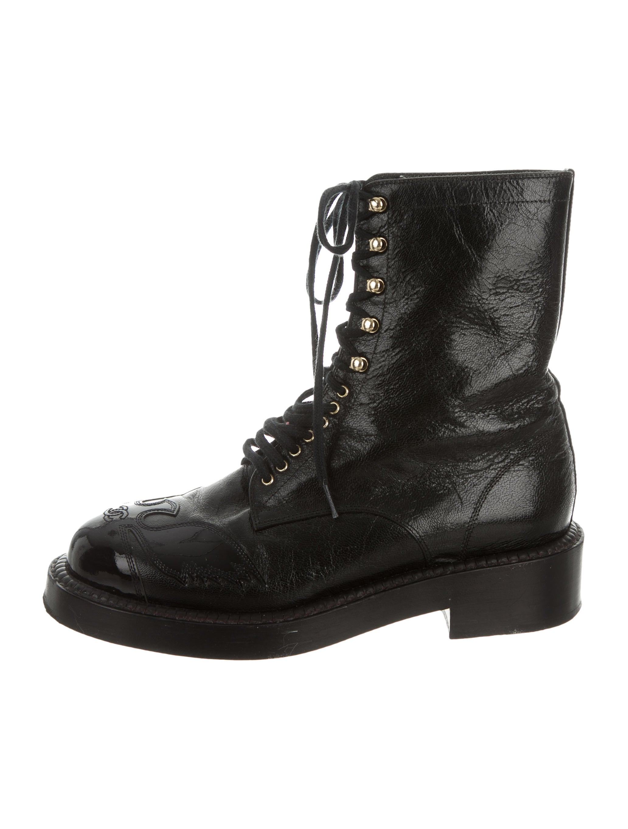 chanel leather lace up ankle boots shoes cha138434