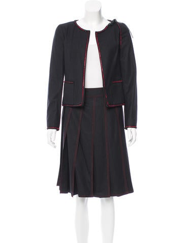 Chanel Wool Embellished Skirt Suit w/ Tags