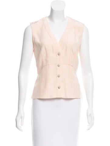 Chanel Silk V-Neck Top None