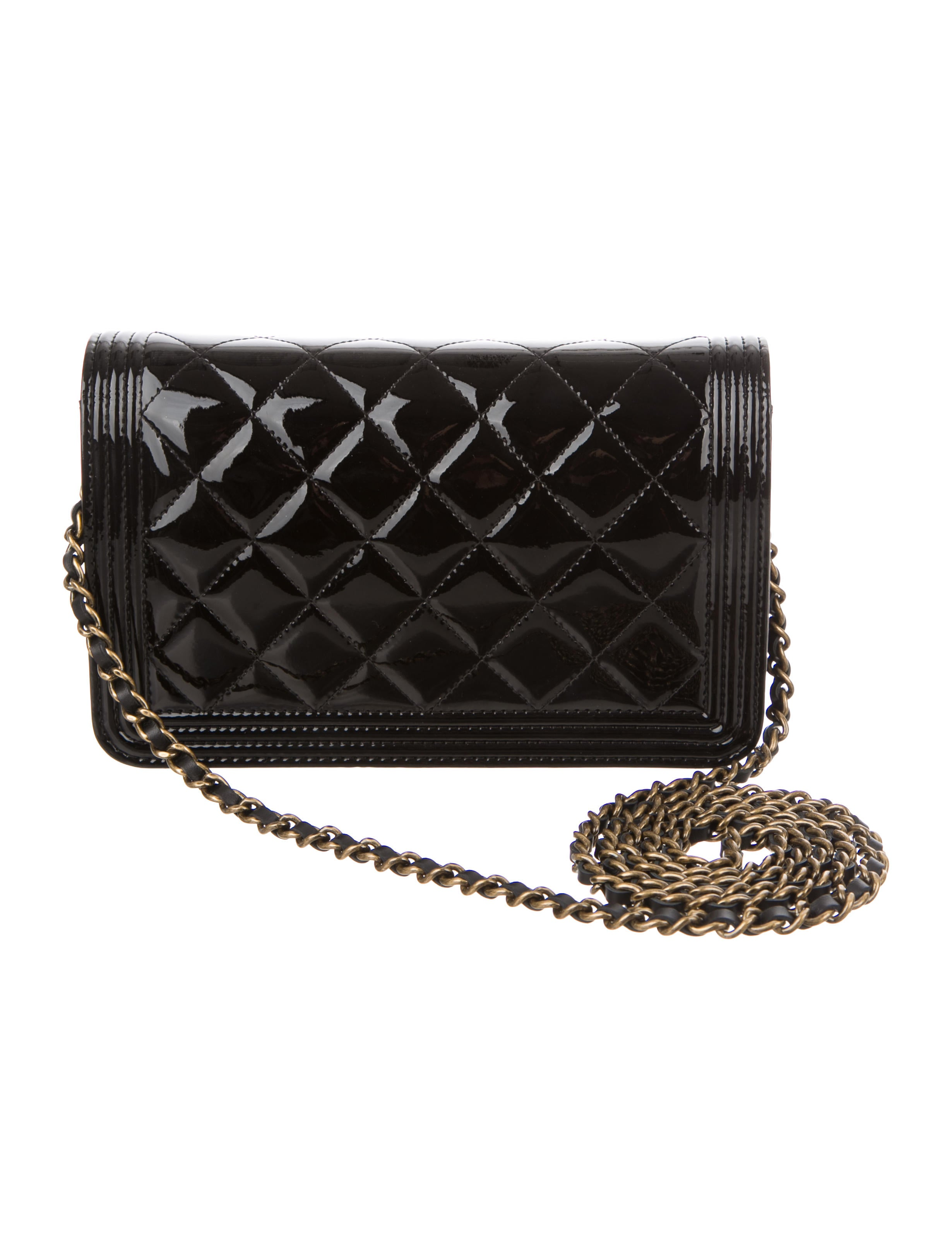 Chanel Patent Boy Wallet On Chain Accessories