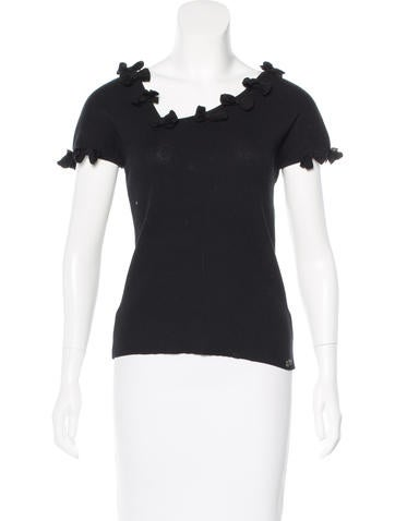 Chanel Rib Knit Bow Top None
