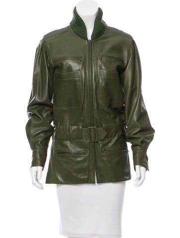 Chanel Leather Belted Jacket None