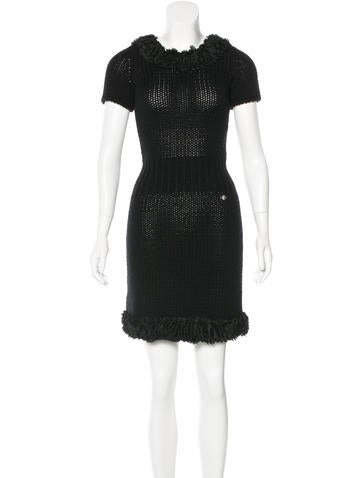 Chanel Ruffle-Trimmed Cashmere Dress None
