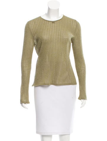 Chanel Metallic-Accented Wool Top None