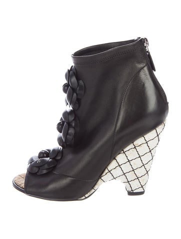 Chanel Camellia Peep-Toe Ankle Boots