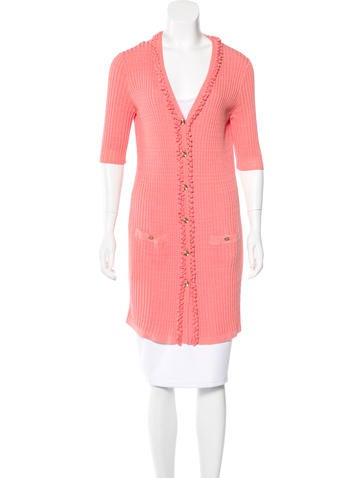 Chanel Rib Knit Short Sleeve Cardigan None