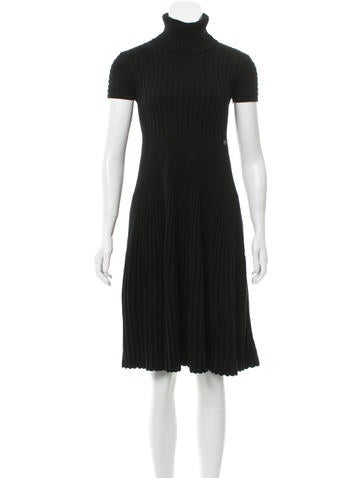 Chanel Rib Knit Wool Dress None