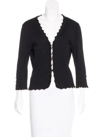 Chanel Scalloped-Trimmed Rib Knit Cardigan None
